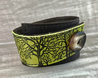 Leather Cuff Bracelet Wrap, Tree Silhouette Print in Brown & Green, Adjustable Size