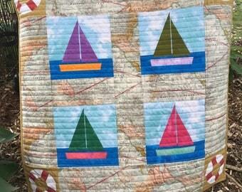 Pattern for Sail Away Baby Blanket Pattern, printed pattern