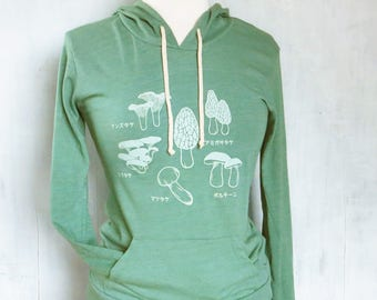 Japanese Mushroom Hoodies for Women, Green Lightweight Hoodies, Japanese Gift for Her, Cute Mushroom Hoodies for Women, Japanese Sweatshirts