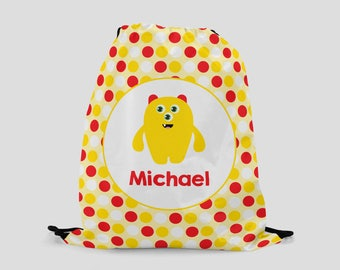 Monster Drawstring Bag for Kids - Personalized Backpack with Cute Yellow Monster - Sports Bag - Custom Bag with Child's Name