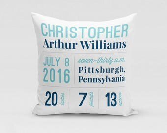 Birth Stats Pillow Cover in Blue - Custom Twill Pillowcase - COVER only - Custom Nursery Decor - Birth Statistics - New Baby Gift