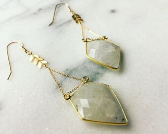 Lakshmi Earrings - Moonstone & Gold