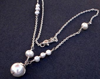 White Freshwater Pearl Necklace, Fine silver Floral Bridesmaid Wedding
