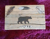 Customized Handmade Moose box with bear and feather woodburning