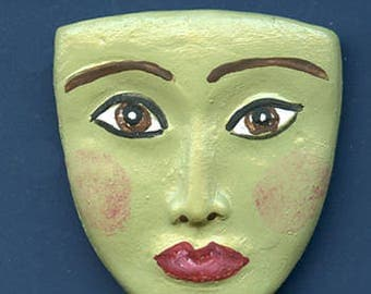 """Polymer Clay 1 5/8""""  detailed Green Art Doll Face Cab MGRM 1"""
