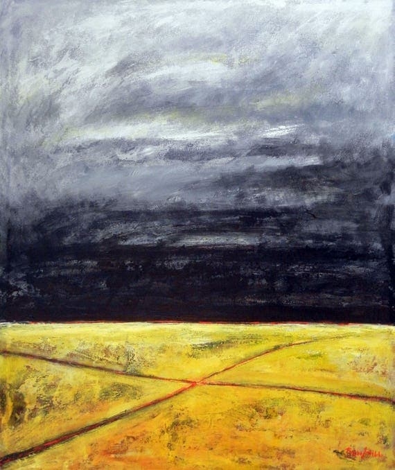 Abstract Landscape Painting Yellow Gray Art CROSSROADS 30x36 by BenWill