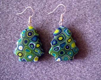 Christmas Trees Polymer Clay Resin Klimt Retro Blue Green Earrings