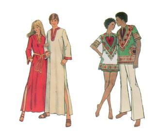 70s uncut Mens Daishiki pattern Shirt Pattern vintage Caftan pattern Chest 42-44 Simplicity 5043