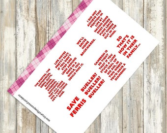 Ferris Bueller Movie Quote Stickers for Erin Condren (ID483)