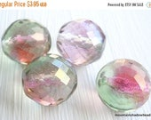 25% OFF Sale Czech Glass Beads - 14mm Multi Faceted Watermelon Luster (G - 295)