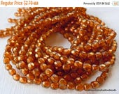 20% Clearance SALE Czech 4mm Beads  - Halo Sandalwood Czech Glass Beads Faceted Firepolished Round - 50 pcs