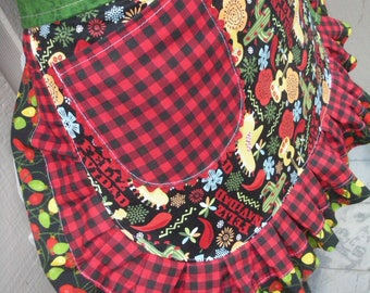 SHIPS OUT TODAY - Women's Aprons - Christmas Aprons - Feliz Navidad Aprons - Mexican Christmas Aprons - Feliz Navidad - Holiday Red Aprons