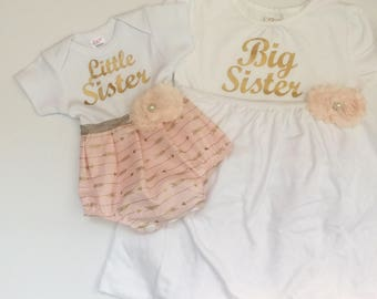 Big Sister Little Sister OUTFITS .. Shabby chic coral Pink with gold arrows print Bubble romper -big sister dress- sister Set..new baby..