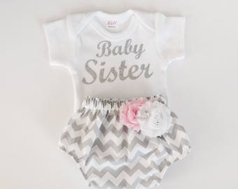 Baby sister onesie and diaper cover set. Little sister newborn outfits---pink and grey chevron -- newborn photos- new baby outfit