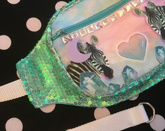 Zebra and Geode Sequined and Irridescent Studs Fannypack