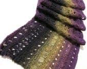 "Hand knit scarf purple & aubergine 54"" wool"