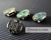 Circuit Board Pin, Recycled Motherboard Jewelry, Geek Chic Lapel, Wearable Technology, Computer Gift, Computer Programmer, Nerdy Pin Button