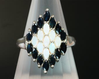 Vintage! Sterling Silver Blue Sapphire and White Opal Ring