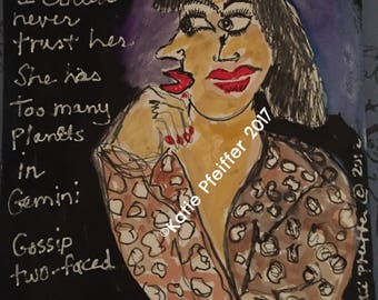 Original Gossip Two Faced personal painting Outsider Art