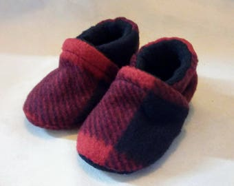 Red Buffalo Plaid: Soft Sole Baby Shoes 0-3M