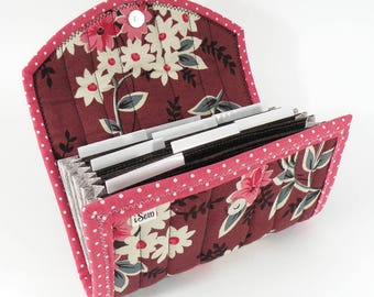 COUPON / EXPENSE / RECEIPT Organizer - Burgundy Flower Bunches - Coupon Organizer Coupon Holder Cash Budget