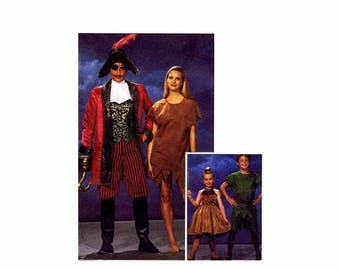 SALE Kids Peter Pan Tinker Bell Captain Hook Costumes McCalls 6218 Vintage Sewing Pattern Size 5 - 6 UNCUT