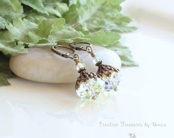 Crystal Brass Earrings, Swarovski Crystals, Wedding Earrings, Victorian Earrings, Valentine Earrings, Brides Earrings, Wedding Jewelry