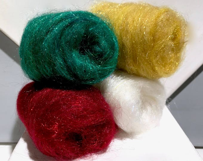 Featured listing image: Holiday Felting Batt Sampler: Christmas Needle Felting kit, Green Red White Gold snow snowflake, Christmas Wool Kit Holiday Colors, DIY gift