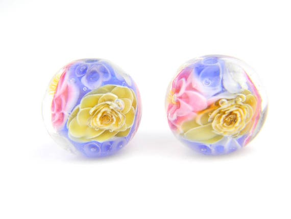 Lampwork Glass Beads - English garden flower bead pair 17mm - The Paradise Collection