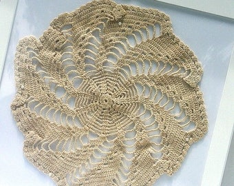 July 4th Sale Off White Hand Crocheted Pinwheel Doily Vintage Cream Doily 1940 Hand Crocheted Doily Vintage Doily 11 Inch Crocheted Doily