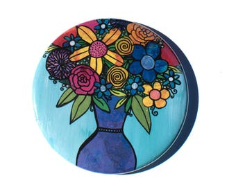 Vase of Flowers Pocket Mirror, Magnet, or Pin - Wedding or Party Favor, Stocking Stuffer, Teacher or Office Gift or White Elephant Gift