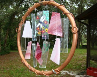 Dragonfly stained glass/copper windchime garden art
