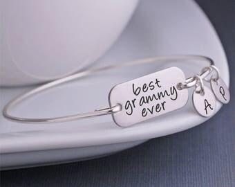 Best Grammy Ever Bangle Bracelet, Christmas Gift for Grammy, Silver Grammy Jewelry, Custom Engraved gift for grandma