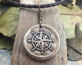 Compass Men's Necklace, Bronze Compass Rose, Father's Day Gifts, Men's Compass, Sailing Jewelry, Wax Seal Charm, Compass Charm, Sailor Charm