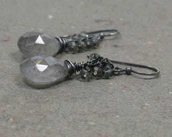 Moss Aquamarine Earrings Sage Green Cluster Oxidized Sterling Silver Gift for Her
