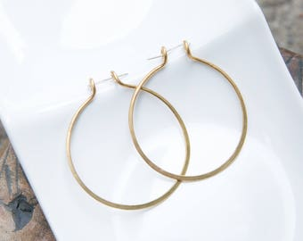 "1.5"" hand hammered bronze hoop earrings"