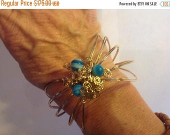 Moving Sale 40% Off 14K Blue Agate Handcrafted Bangle Bracelet