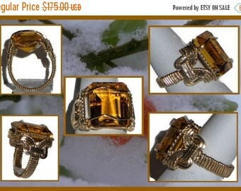 Moving Sale 40% Off Emerald Cut Citrine Ring, Gold, 13cts. VS