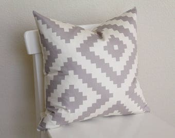 """Couch throw pillow Cover, Invisible zipper, closure, Gray Twill. 18"""" square, Home decor, cushion, Gray, aztec print, joel dewberry fabric"""