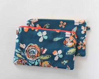 zipper pouch, cash envelope, Eyeglass case, Pen pencil, cash wallet, Cosmetic makeup case, makeup bag, sunglasses case, Teal Coral Floral