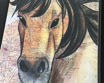 Chincoteague Pony Horse Poster, 11x17 inches, Horses of the World, Repurposed Map, Eastern U.S.A.