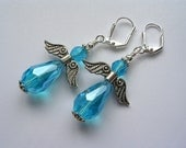Aqua Crystal Angel Earrings Heavenly Guardian Angels in Silver Angel Jewelry Blue Angels Free Necklace Pendant