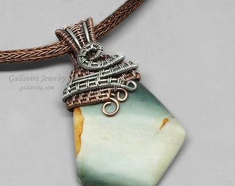SALE - Green Jasper, Sterling Silver and Copper Mixed Metal Pendant on Leather and Viking Knit Necklace