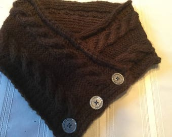 Chocolate Brown Cable Knit Buttoned Cowl