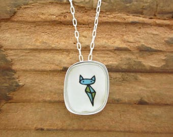 Kite Cat Necklace - Sterling Silver and Vitreous Enamel Cat Pendant