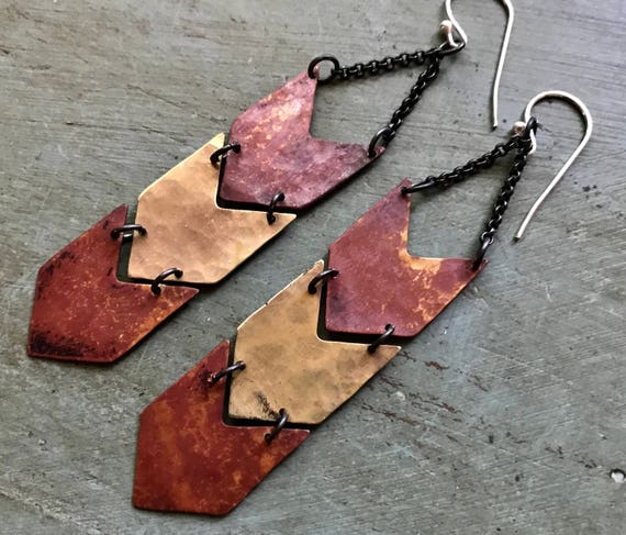 Copper and Brass Chevron Earrings - Triple