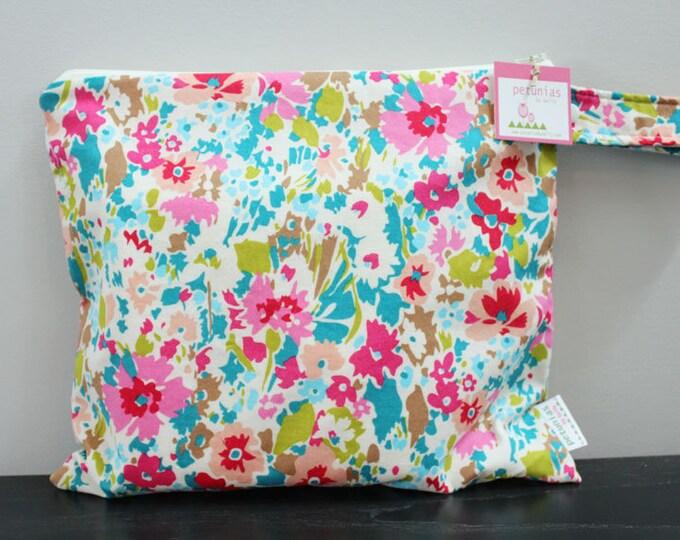 Wet Bag wetbag Diaper Bag ICKY Bag wet proof teal floral gym bag swim cloth diaper accessories zipper gift newborn baby kids beach bag