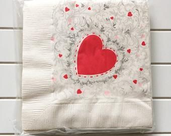 Vintage Valentine Heart Paper Party Napkins Hallmark Set Of 12