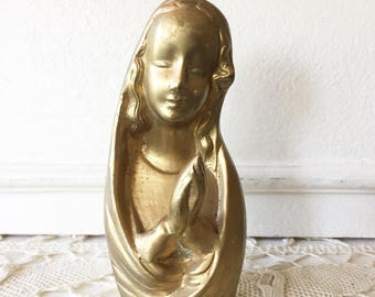 Vintage Brass Praying Virgin Mary Religious Statue Figurine