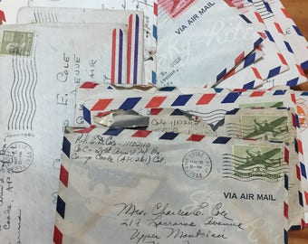 5 vintage airmail envelopes for travel junk journals